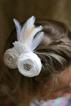 vintage inspired wedding flower hair piece by sunshowerflowers, $20.00