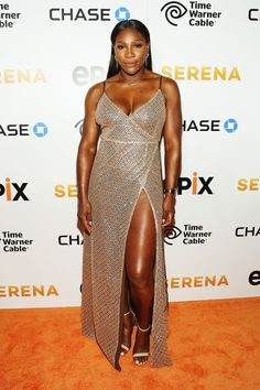 """Serena Williams wowed in a glittery gown at the NYC premiere of her self-titled documentary """"Serena."""" Check it out!"""