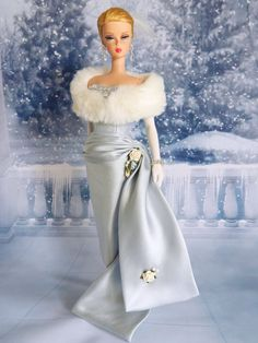 ~ Joby. This exquisite fashion in pale blue silk Dupioni and silk charmeuse a re just the prefect combination for your fashion dolls. Enchanted . This ensemble features a pale blue silk Dupioni evening gown adorned with crystal/rhinestone & silver seed beaded detail. | eBay!