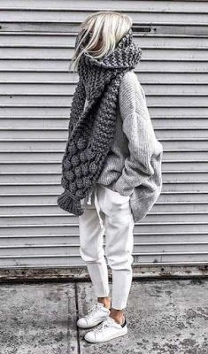Casual comfortable knitted autumn outfit two-piece. , : Casual comfortable knitted autumn outfit two-piece. Cozy Fall Outfits, Winter Fashion Outfits, Autumn Winter Fashion, Casual Outfits, Fall Winter, Winter Scarf Outfit, Hipster Outfits Winter, Fashion Clothes, Fashionable Outfits