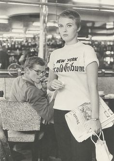 Jean Seberg 1959 `Breathless.' The first woman to wear a screen print t-shirt on film. Within weeks of the movies release copies of her New York World Tribune T-shirt were flying off the shelves of trend setting stores worldwide.