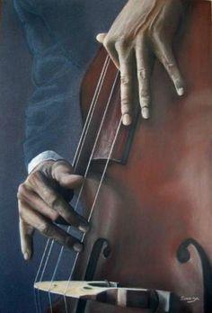 Jazzman, contrebasse - Swaze, peintre pastelliste