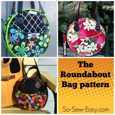 Sewing pattern for a fun round purse or handbag. Lots of options to personalise this simple bag pattern with your own design ideas. Bag Pattern Free, Purse Patterns Free, Easy Sewing Patterns, Pattern Sewing, Crochet Pattern, Round Bag, Fabric Bags, Sew Bags, Simple Bags