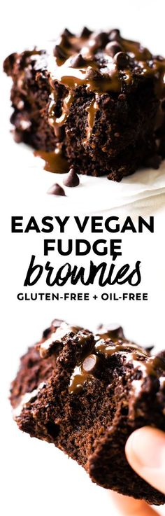 Ultra rich Vegan Fudge Brownies chock full of chocolate! Easily made in the blender. And healthier than most with applesauce, oat flour, and no added sugar. #vegan #glutenfree #chocolate