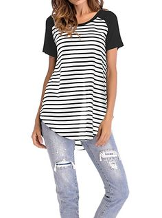Women s Tunics - Adreamly Women s Striped Raglan Long Sleeve Baseball T  Shirt Tunic Tops at Women s Clothing store  f0c505d00