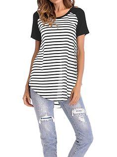 Women s Tunics - Adreamly Women s Striped Raglan Long Sleeve Baseball T  Shirt Tunic Tops at Women s Clothing store  f0c505d00