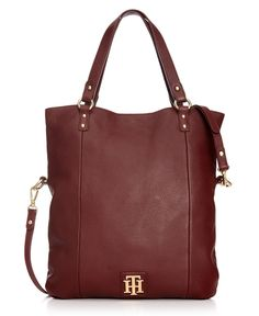 Tommy Hilfiger Handbag, Back to Cool Leather Folddover Tote - Tote Bags - Handbags & Accessories - Macy's