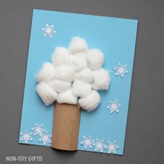 Explore the seasons with this four season tree craft. It uses paper rolls and cotton balls and it's easy and fun for kids to make.