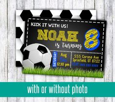 Soccer birthday party invitations for boy or girl kick it with us for any age birthday pro soccer wi Soccer Party Favors, Soccer Birthday Parties, Birthday Cakes For Teens, Birthday For Him, Teen Birthday, Birthday Party Themes, Birthday Wishes, Castle Party, Party Printables