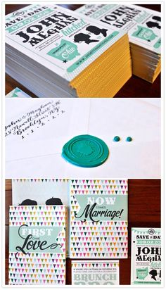 colorful ohio wedding...love these invites/save the dates