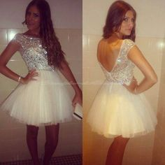 Simple-Dress Scoop A-line Handmade Beading Capped Tulle Homecoming Dresses/Sweet 16 Dresses/Party Dresses TUPD-7393