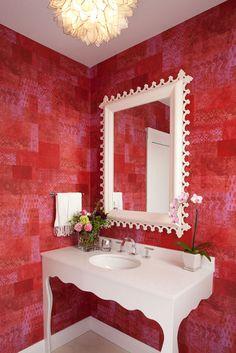 red wallpaper in a powder room by San Francisco interior designer Tineke Triggs
