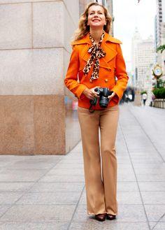 Loving the combo of short orange pea-coat, camel slacks, leapard bow blouse!