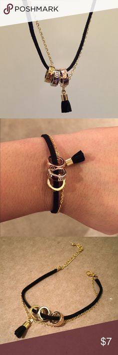 """Velvet rope and gold chain bracelet Velvet rope and gold chain bracelet finished with a black taser land 3 tone beads. Size is adjustable . Max fit wrist 9"""". Bchic Jewelry Bracelets"""