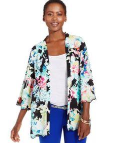 Ny Collection Petite Scallop-Trim Kimono Jacket