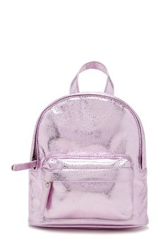 A structured faux leather mini backpack featuring a metallic design, top handle, adjustable straps, high-polish zip-up top, an exterior zippered pocket, and interior slip pocket.