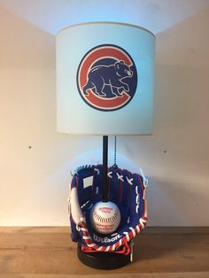 Chicago Cubs, Baseball Lamp, Baseball, MLB, man cave, kids night light, sports, baseball glove, Cubs by CaliradoArt on Etsy https://www.etsy.com/listing/504762602/chicago-cubs-baseball-lamp-baseball-mlb