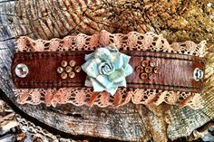 LOVE THIS!! Leather cuff featuring turquoise paper flower by dirtynameranch, $24.00