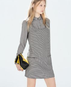 ZARA - TRF - HOUNDSTOOTH CHECK PINAFORE DRESS