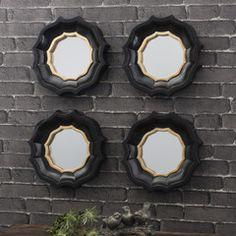 Set of 4 Black & Gold Quatrefoil Mirrors - Shropshire Design