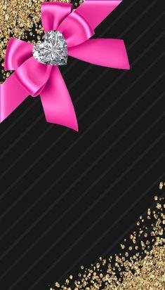 By Artist Unknown. Bow Wallpaper Iphone, Bling Wallpaper, Pretty Phone Wallpaper, Wallpaper For Your Phone, Heart Wallpaper, Cellphone Wallpaper, Wallpaper Backgrounds, Cute Lockscreens, Golden Wallpaper