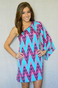 happily ever chevron dress | Happily Ever Chevron Dress: Pink/Blue ...