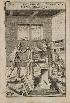 Intaglio-plate {illustration} printing press, Torchio per stampar i disegni con i rami intagliati, from 'Novo Teatro di Machine et Edificii' by Vittorio Zonca, 1607