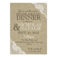 Burlap Look Rehearsal Dinner Invites