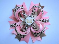 zebra print with bottle cap in center boutique hair bows