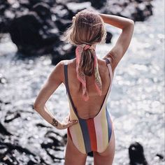 A striped one piece