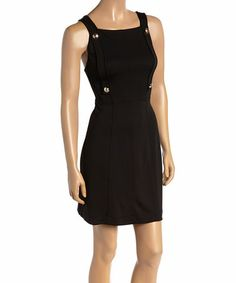 Another great find on #zulily! Black & Gold Overall Sleeveless Dress by Versace Jeans Collection #zulilyfinds