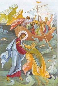 How Not to Sink Like a Stone in the Raging Sea of Life: A Homily for the Sunday After Pentecost in the Orthodox Church Images Of Christ, Religious Images, Religious Icons, Religious Art, Byzantine Icons, Byzantine Art, Religious Paintings, Jesus Pictures, Catholic Art