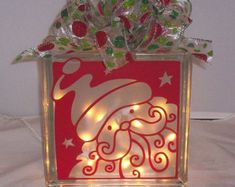 Christmas Decorated Glass Block Santa Face