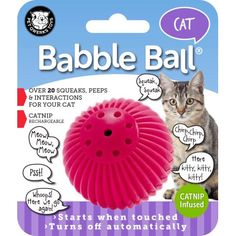 Used Cat Babble Ball Catnip Infused, Pink