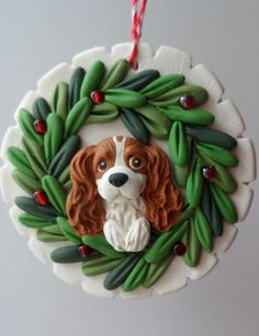 Cavalier King Charles Spaniel Christmas ornie by Raquel at the WRC hand sculpted polymer clay ORNAMENT Pet dog Lover