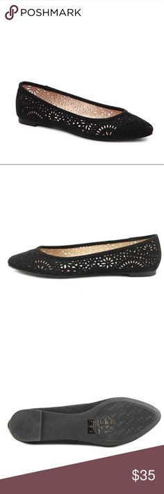 🎉HP🎉Kelly & Katie Ballet Flats Kelly & Katie black laser cut faux suede ballet flats. NEW with box. Kelly & Katie Shoes Flats & Loafers