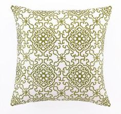 Seville Embroidered Pillow in Green $110.00 (USD).  Product in photo is from www.wellappointedhouse.com