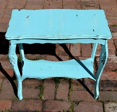 Vintage Side Table Solid Wood In Distressed by CasanovasCabinet