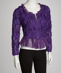 Take a look at this Purple Rosette Linen-Blend Cardigan by Pretty Angel on #zulily today! would love this top.