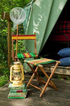 Camp Tent   The Lettered Cottage--vintage boy scout tents on wooden platforms