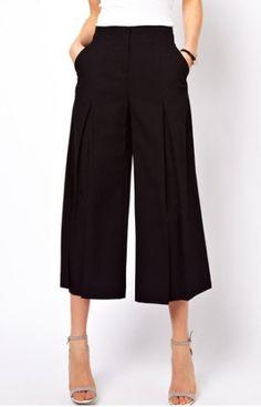Stylish Wide-leg Black Cropped Pants For Women