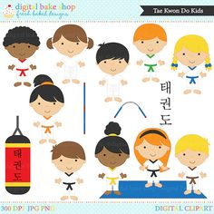 This Tae Kwon Do Clip Art set is perfect for projects relating to martial arts. There are 10 kids with different color belts as well as a floor mat, punching bag, nunchucks, staff and Tae Kwon Do spelled in Korean.  Graphic Info: 300 DPI Resolution 15 Transparent PNG Files 15 JPG Files  License Info: Commercial CREDIT REQUIRED License and Non-Profit Personal Use License INCLUDED in the purchase price of this graphic set.  You must place Graphics by the Digital Bake Shop where you display…