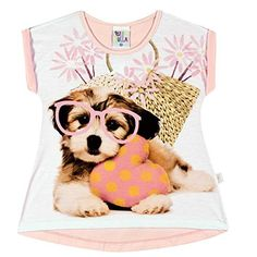 Toddler Girl Short Sleeve Shirt Puppy Graphic Tee Pulla Bulla 1 Year  Rose -- You can get additional details at the image link.
