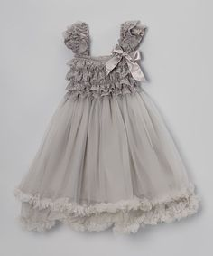 Loving this Gray Ruffle Tulle Dress - Toddler & Girls on #zulily! #zulilyfinds