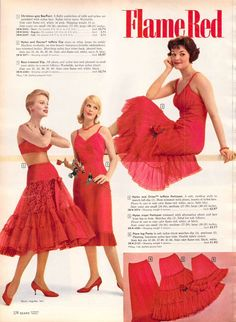 1959 Sears lingerie fashions in flaming red.