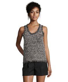 BALENCIAGA Black And White Metallic Tweed Sleeveless Blouse'. #balenciaga #cloth #blouses