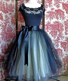 Don't even know where I'd where it.. But I want it... Black and tiffany blue aqua  tutu skirt for women.  Ballet glamour. Retro look tulle skirt.. $165.00, via Etsy.