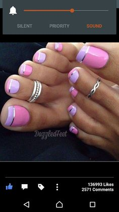 Pink and lilac toes