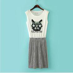 Fashion Womens Vertical Stripe Splice Cat Print Sleeveless Cocktail Mini Dress | eBay