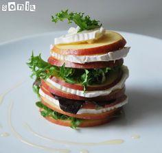 Ensalada de manzana y queso de cabra con vinagreta de miel   L'Exquisit